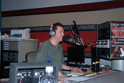 Lee enjoying himself at the G4 studios