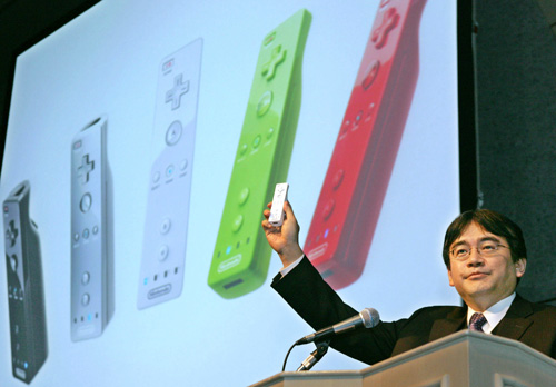 Satoru Iwata - remember that promise of differing remotes? {Image from bruceongames.com}